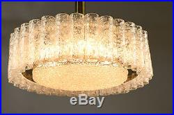 Doria Chandelier Murano Ice Glass Lamp Light Pendant Vintage Mid Century