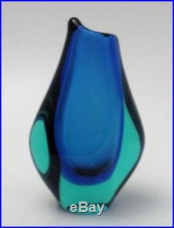 Exquisite Vintage Italian Murano Uranium Sommerso Art Glass Vase MID Century