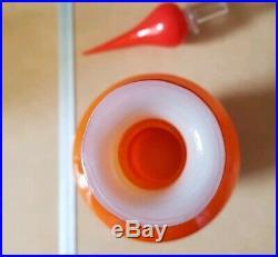Empoli 25 Large Orange Cased Glass Decanter Mid Century Italy Genie Bottle