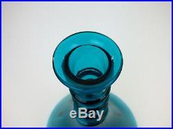 Empoli tall turquoise blue glass decanter Mid Century retro Italy Genie Bottle