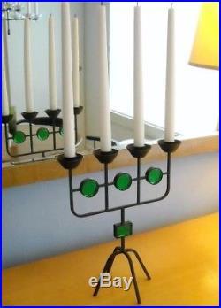 Erik Hoglund iron & glass candelabra Sweden Boda Mid-century modern candle