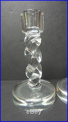 Fabulous Pair Vintage Steuben Crystal Mid-century 8 Rope Twist Candlesticks