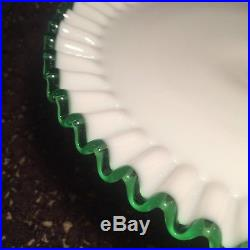 Fenton Emerald Green Crest Footed Cake Stand Plate Mid-Century Glass