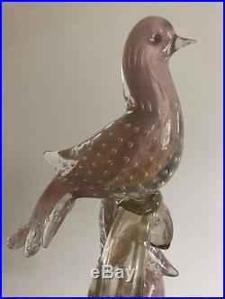 Fine Mid Century Murano Barbini Art Glass Sculpture Trio of Birds on Branches