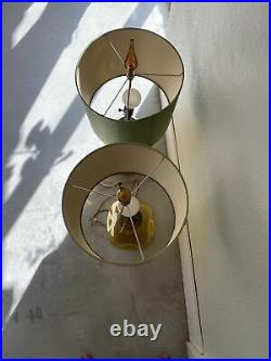 Finial Blenko Glass Table Lamp (2) Yellow Amber vintage mid century modern 1960