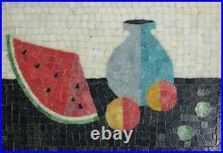Framed Mid Century Modern Glass Mosaic Wall Panel, Modernist Watermelon