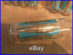 Fred Press 7 Glasses Turquoise Gold Leaf Mid Century Cocktail High Ball 60s
