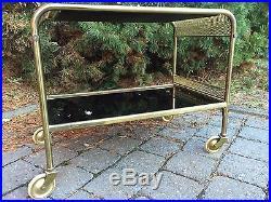 French Mid Century Brass BLACK Glass Shelf BAR CART Trolley Table Paris Art Deco
