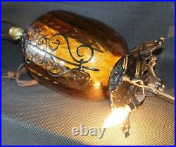 GORGEOUS Vintage MID CENTURY Table Lamps AMBER GLASS Bases Light Up