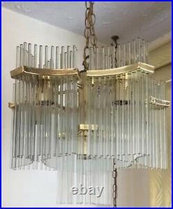 Gaetano Sciolari 6 Light Glass Rod Chandelier Brass Lightolier Mid Century