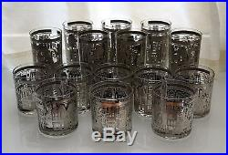 Georges Briard Lowball and Highball 15 Glasses CITYSCAPE Silver RARE Mid Century