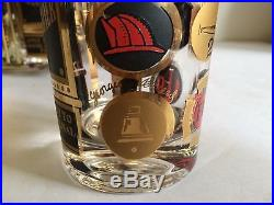 Georges Briard THIRST EXTINGUISHER Mid Century Bar Cocktail Drinking Glasses 60s