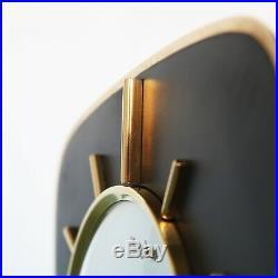 German JUNGHANS Vintage Mantel Clock BAUHAUS Design SOLID METAL/Glass MidCentury