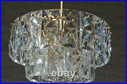 German Mid-Century 3 tier 36 Faceted Crystal glass disc Chandelier by Kinkeldey