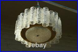 German Mid-Century DORIA glass tubes amber clear chandelier pendant 1960