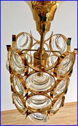 Gilt Brass and Glass Palwa Pendant Light 1960s Mid Century Modern