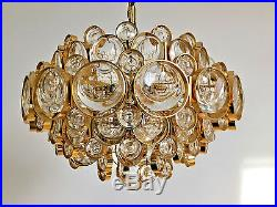 Gilt Palwa Brass and Glass Chandelier 1960s Mid Century Modern