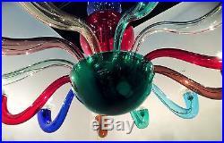 Gio Ponti for Venini Mid Century Multicolored Signed Chandelier