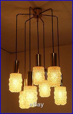 Glamorous 7-light mid century PENDANT LIGHT amber glass and brass cascade lamp