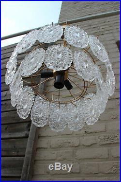 Gorgeous mid century murano vistosi glass discs chandelier pendant 1970