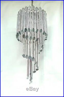 Grande Lampadario Cascata Venini Murano Vetro chandelier glass 1960 Mid century