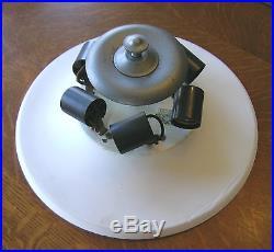 HUGE 6 Light Vtg Modern Mid Century Semi Flush Ceiling Fixture & Glass Shade 21