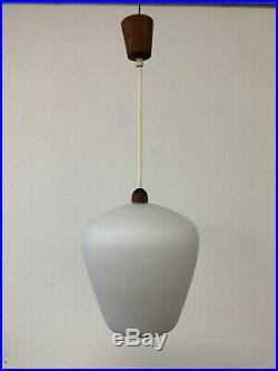 Hängelampe Glas Teak Luxus Sweden 50er 60 Drop Glass Lamp Pendant Mid Century