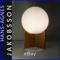 Hans Agne Jakobsson Mid Century Modern Opaline Glass & Teak Danish Sweden Label