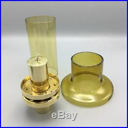 Hans-Agne Jakobsson c. 1950 Amber Yellow Glass Mid-Century Hurricane Lamp