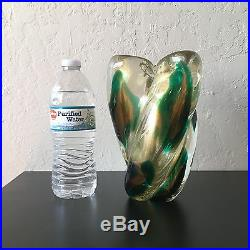 Heavy Mid Century Green Gold Archimede Seguso Murano Art Glass Vase Clover Italy