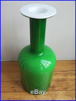 Holmegard Kastrup Mid Century Modern Green Cased Danish Modern Vase 15 Gulvase