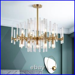 Horchow French Mid Century French Modern Deco XL Chandelier Brass & Glass Light