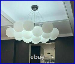 Horchow Mid Century Modern Regency Industrial Globe Orb Pendant Chandelier White