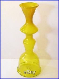 HuGe RARE Vintage BLENKO Art Glass Decanter FLOOR VASE 5929L Mid Century  Yellow