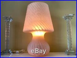 Huge 19 1/2 Swirl 2 Tone Pink Mid-century Murano Italy Mushroom Lamp Glass
