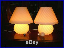 Huge, Beautiful MID Century Modern 16 Murano Pink Mushroom Swirl Glass Lamps/2