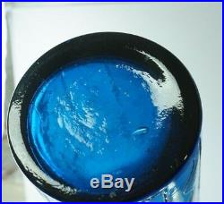Huge Mid Century 25 1/2 Tall Blue Glass Empoli Bottle Decanter