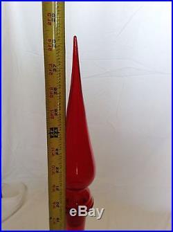 Italian Empoli Red Decanter 28.5 tall Mid Century Modern MCM
