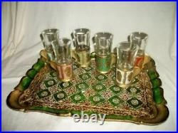 Italian Florentine Tray Shot Glass Holders Rare French Farmhouse MID Century