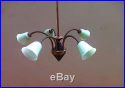 Italian Mid Century Brass Opaline Glass Chandelier Pendant lamp, 1950s Stilnovo