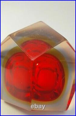 Italian Mid-Century Faceted Diamond Murano Bowl Ashtray Flavio Poli Space Age