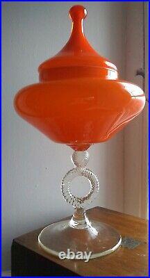 Italian tall Empoli Apothecary Jar Orange Cased Mid Century