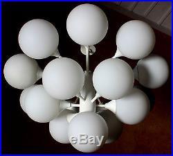 Kaiser Sputnik 16 Lights Organic Pendant Chandelier Opal Glass 1970s MID Century