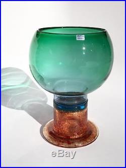 KAJ FRANCK Large Mid Century Modern ART GLASS Goblet Nuutajarvi ARABIA Finland