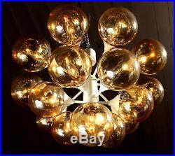 Kaiser Sputnik 16 Lights Organic Pendant Chandelier Gold Glass 1970s MID Century