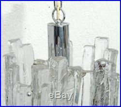 Kalmar Franken Lampe Hängelampe Eisglas Ice Glass 70er Mid Century