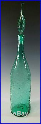 LARGE, FLOOR SIZE, BLENKO MID-CENTURY MODERN ART-GLASS CRACKLE DECANTER BOTTLE