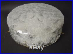 LARGE FROSTED ICE GLASS FLUSH MOUNT MURANO CEILING LAMP VINTAGE MID CENTURY 60s