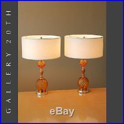LIGHT UP BASE PAIR MID CENTURY MODERN ATOMIC HOBNAIL TABLE LAMPS! Glass Vtg 50s