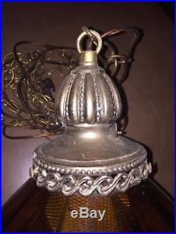Large 23 Hanging Swag Lamp Light Amber Glass Mid Century Modern Retro Diffuser